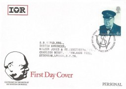 1974 Winston Churchill, International Rectifiers FDC, 4½p Stamp only, First Day of Issue Woodstock Oxford H/S