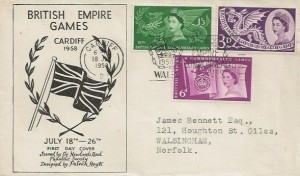 1958 Commonwealth Games, Newlands Road Philatelic Society FDC, VIth British Empire & Commonwealth Games Cardiff Slogan