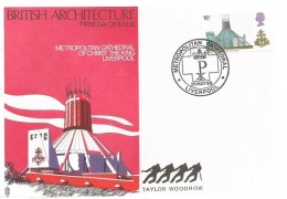 1969 British Cathedrals, Trident Taylor Woodrow FDC, 1/6d Liverpool Cathedral stamp only, Metropolitan Cathedral Liverpool H/S