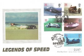 1998 Speed, Westminster Official FDC, Legends of Speed Pendine Carmarthen  H/S