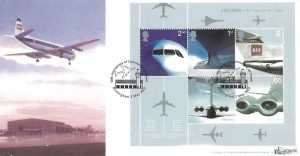 2002 Airliners Miniature Sheet, Bradbury Windsor Series No.13 Official FDC, 50th Anniversary of Jet Travel Birmingham H/S