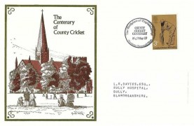 1973 County Cricket Centenary, Lederle Laboratories FDC, 3p Stamp only, The Birthplace of English Cricket Hambledon Portsmouth Hants. H/S