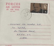 1965 Sir Winston Churchill, 4d Stamp only, Forces Air Letter, FPO 944 cds