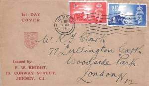1948 Channel Islands Liberation, F W Knight FDC, Jersey Cancel