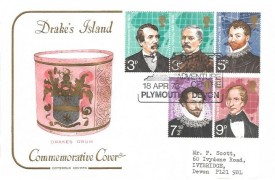 1973 British Explorers, Cotswold Official Drake's Drum FDC, Drake's Island Adventure Centre Plymouth H/S, set of Drake's Island Local on the back