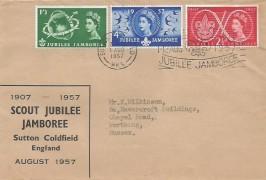 1957 Scout Jubilee Jamboree, Display FDC, World Scout Jubilee Jamboree Sutton Coldfield Slogan