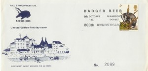 1977 British Wildlife Badger Beer Hall & Woodhouse Official FDC, Badger Beer 200th Anniversary Blandford Dorset H/S