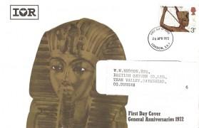 1972 General Anniversaries. International Rectifier IOR FDC card, 3d Tutankhamen stamp only London SE1 FDI
