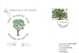1973 British Trees the Oak, Helston Stamp Shop FDC, Truro Cornwall FDI