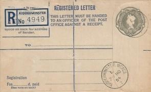 1954 QEII 8½d Registered Printed Postal Stationery Envelope FDC, Kidderminster Worcs. cds