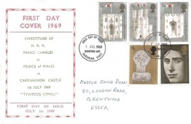 1969 Prince of Wales Investiture, 'Brentwood' Display FDC, Romford and Dagenham Essex FDI