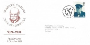 1974 Winston Churchill, Illustrated FDC, 4½p Churchill stamp only, First Day of Issue House of Common London SW H/S