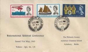 1963 Lifeboat Conference, Philatelic Society Aylesbury Grammar School FDC, Aylesbury Bucks. cds