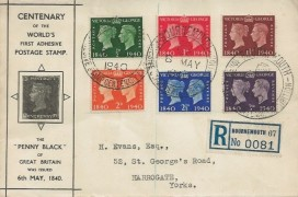 1940 Postage Stamp Centenary, Registered Penny Black Illustrated FDC, Adhesive Stamp Centenary Exhibition Bournemouth H/S
