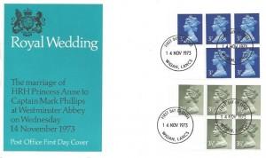 1973 50p Booklet, Post Office Royal Wedding FDC, Wigan Lancs. FDI