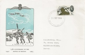 1965 Battle of Britain, Holmes Tolly FDC, 4d Ordinary stamp only, Kingston Upon Thames FDI