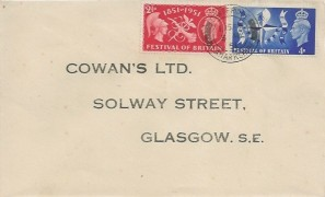 1951 Festival of Britain, Cowan's Ltd Glasgow FDC, Coatbridge Lanarkshire cds