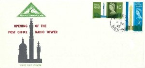 1965 Post Office Tower, North Herts. Stamp Club FDC, Hitchin Herts. cds