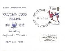 1966 England World Cup Winners, Illustrated Guernsey FDC, Guernsey Channel Islands FDI