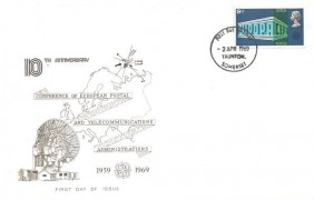 1969 Notable Anniversaries, Taunton FDC, 9d Europa / CEPT stamp only. Taunton Somerset FDI