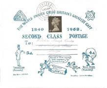 1968 First Day of 2nd Class Postage Rate, Mulready style Illustrated Cover, 4d Machin stamp, Devizes Wilts.cds