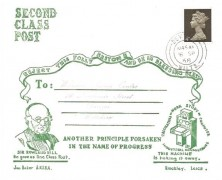 1968 First Day of 2nd Class Postage Rate, Jon Baker Mulready Style Illustrated Cover, 4d Machin stamp, Devizes Wilts.cds