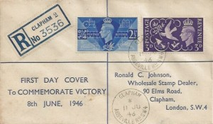 1946 Victory, Registered Ronald C Johnson FDC, Abbeville Road Clapham SW4 cds