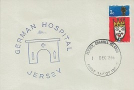 1966 Christmas, German Hospital Jersey FDC, 3d stamp only, Jersey Channel Islands FDI