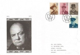 1974 Winston Churchill, Jack Sawyer Illustrated FDC, First Day of Issue Blenheim Woodstock Oxford H/S