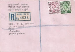 1958 6d, 1/3d Scottish Regionals, Plain Registered FDC, Fairhill Hamilton Lanarkshire cds