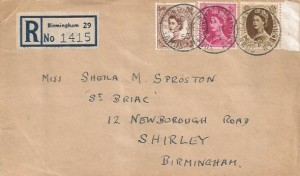 1953 5d, 8d, 1/- QEII Wilding Definitive issue, Registered W.J.Sutton Ltd Envelope FDC, Summer Lane Birmingham cds