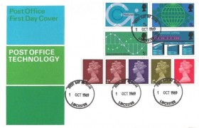 1969 Post Office Technology, GPO FDC, Leicester FDI + 1s Se-Tenant Multi Value Coil