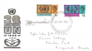 1965 United Nations & International Co-operation Year, BPA/PTS FDC. Kingston Upon Thames FDC. Signed by Jeffrey Matthews Stamp Designer