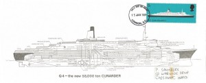 1969 British Ships, Q4 - The New 58,000 ton Cunarder FDC card, 5d QEII stamp only, London EC FDI