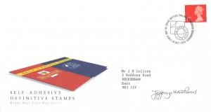 1993 Self Adhesive 1st Class NVI, Royal Mail FDC,First Day of Issue Philatelic Bureau Edinburgh H/S. Signed by Jeffrey Matthews Stamp Designer
