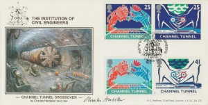 1994 Channel Tunnel, Official Bradbury LFDC 123 FDC, Institute of Civil Engineers London SW1 H/S, Signed by Charles Hardaker NEAC RBA