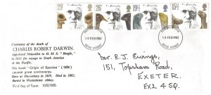 1982 Charles Darwin, Illustrated Exeter FDC, Exeter District FDI