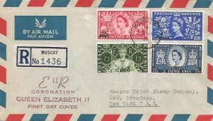 1953 Coronation Muscat Overprinted, Registered Illustrated Air Letter FDC, Muscat cds.
