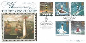 1998 Lighthouses, Benham BLCS141 Official FDC, 300th Anniversary The Original Eddystone Light Plymouth H/S
