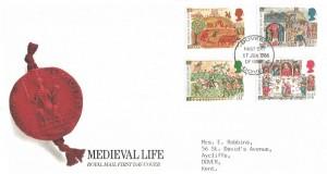 1986 Medieval Life, Royal Mail FDC, Dover (Dovere) FDI