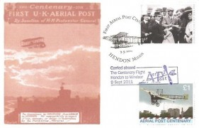 2011 Set of 4 Aerial Post Replica Postcards, Carried on board the Centenary Flight Hendon to Windsor, First Aerial Post Centenary Hendon & Windsor Stampex H/S's