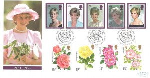 1998 Diana + 1976 Roses stamp set, Royal Mail FDC, Diana Princess of Wales Kensington London W8 H/S