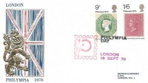 1970 Philympia, Benson & Hedges FDC, 9d & 1/6d stamps only. Philympia Day London H/S