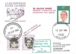 1980 British Conductors, Llechwedd Slate Caverns FDC, 15p Sir Malcolm Sargent stamp only, Llandudno Gwynedd FDI