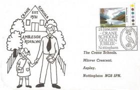 1981 National Trust, Crane Schools' Official FDC, 14p Glenfinnan stamp only, Crane Schools' Golden Jubilee Nottingham H/S