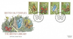 1981 Butterflies, Hand Painted British Library FDC, First Day of Issue London SW H/S