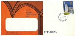 1972 Village Churches, ICI Building Group FDC, 3p Greensted Juxta Ongar Essex Church stamp only, London E1 FDI