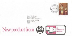 1980 Sporting Anniversaries, ICI Antiseptics Services FDC, 12p Running stamp only, Rugby Warwickshire FDI