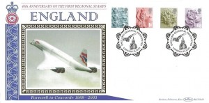 2003 45th Anniversary of the First Regional Stamps, 2nd Class, 1st Class, E, 68p, Benham BLCS263b Official FDC, England Regional Definitives London H/S