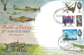 1965 Battle of Britain, Small Rembrandt FDC,  4d, 9d, & 1/3d Ordinary stamps only, Biggin Hill Westerham cds